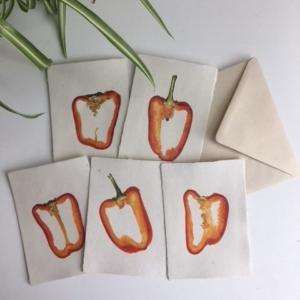 Groentekaarten met echte schijf van rode paprika