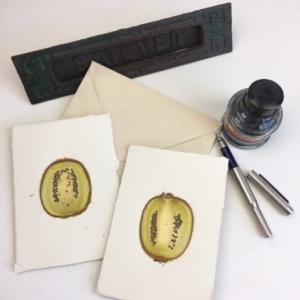 fruitkaart kiwi: ingedroogde kiwischijf in handgeschept papier