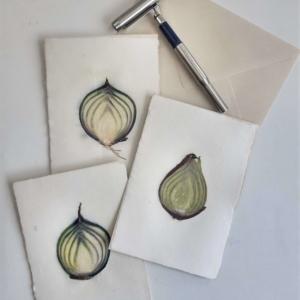 groentekaart rode ui: ingedroogde schijf rode ui in handgeschept papier