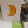 fruitkaart sinaasappel: ingedroogde sinaasappelschijf in handgeschept papier